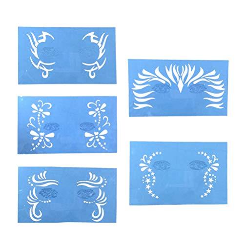 HEALLILY 5pcs gabarits de Peinture de Visage réutilisables gabarits de Maquillage pour Le Maquillage de Tatouage