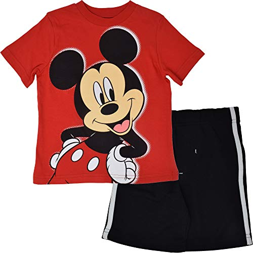 Disney Mickey Mouse Toddler Boys T-Shirt and Mesh Shorts Set 24 Months Red-Black