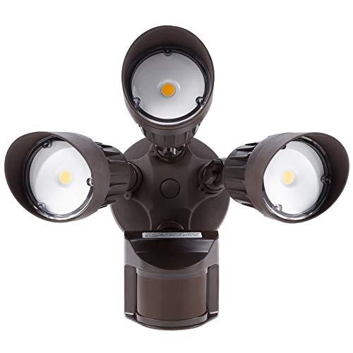 LEONLITE LED Security Lights Motion Sensor Light Outdoor, 3-Head Flood Light, 30W(250W Equiv.), IP65 Waterproof, 3000K Warm White, ETL Listed Outdoor Lighting for Patios, Garage, Decks, Bronze