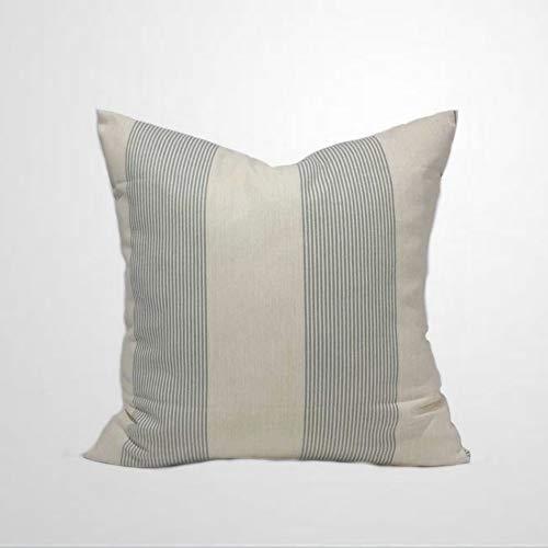 EricauBird Isle Spa - Funda de almohada con diseño de rayas, color marfil y azul y verde, decoración floral