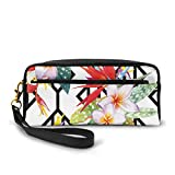 Pencil Case Pen Bag Pouch Stationary,Beautiful Vibrant Colored Exotic Flowers On Absract Shapes...