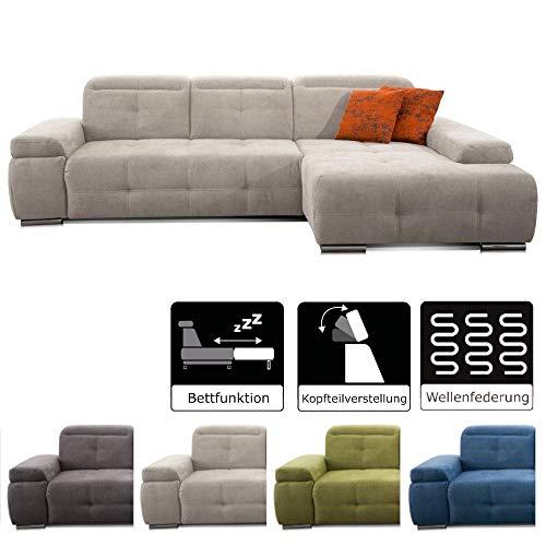 CAVADORE Schlafsofa Mistrel mit Longchair XL rechts / Große Eck-Couch im modernen Design / Mit Bettfunktion / Inkl. verstellbare Kopfteile / Wellenunterfederung / 273 x 77 x 173 / Kati Grau-Weiss