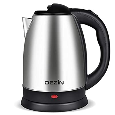 Dezin Electric Kettle Water Heater Upgraded, 2L Stainless Steel Cordless Tea Kettle Boiler, Fast Boil Water Warmer with Auto Shut Off and Boil Dry Protection Tech for Coffee, Tea, Beverages