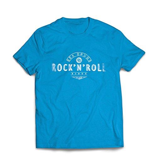 lepni.me Männer T-Shirt Sex Drugs und Rock'n'Roll - 1960er, 1970er, 1980er - Vintage Rockband - Musikalisch - Konzertkleidung (Large Blau Mehrfarben)
