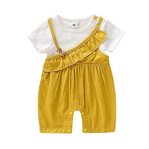 Xmiral Baby Mädchen Kurzarm Oansatz Gefälschte Zweiteilige Rüschen Overall Neugeborenen Rüschen Onesies Bodysuit(Gelb,6-12 Monate)