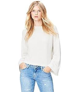 Amazon-Marke: find. Damen Kastiges Sweatshirt mit Trompetenärmeln, Elfenbein (Ivory), 36, Label: S