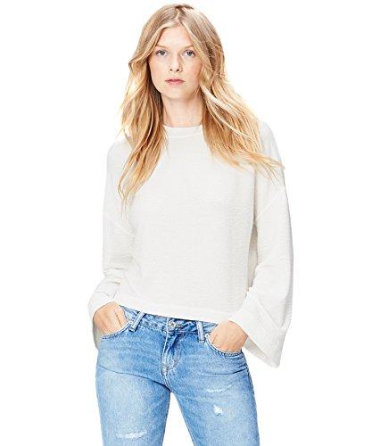 Amazon-Marke: find. Damen Kastiges Sweatshirt mit Trompetenärmeln, Elfenbein (Ivory), 40, Label: L