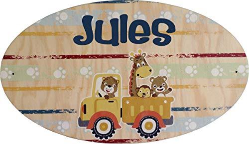 Plaque de Porte en bois personnalisée pour une Chambre d'enfant Animaux Zoo Jungle - Le prénom de la plaque en bois est personnalisable - cadeau de naissance personnalisé bébé Décoration