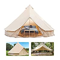 4 Season Bell Tent Outdoor Family Camping Waterproof Bell Tent with Zipped for Family Camping Outdoor Hunting