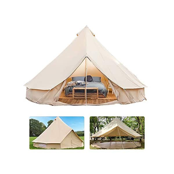 4 Season Bell Tent Outdoor Family Camping Waterproof Bell Tent with Zipped for Family Camping Outdoor Hunting 1