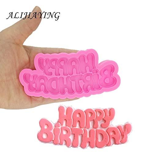 CHENGTAO DIY Feliz Cumpleaños Forma Silicón Moldea Carta Gumpaste Chocolate Pasta De Azúcar Que Adorna Las Herramientas Al por Mayor (Color : Pink)