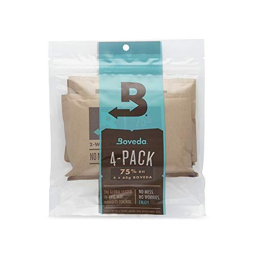 Boveda für Zigarren/Tabak | 2-Wege-Feuchtigkeitsregulierung mit 75% relativer Feuchtigkeit | Größe 60 zur Verwendung für jeweils 25 Zigarren im Humidor | 4 Stück