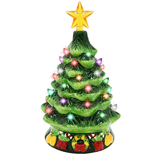 Joiedomi 7' Ceramic Christmas Tree with Green Base, Prelit Xmas Tree with Extra Clear Star Topper for Home and Office Tabletop Decoration