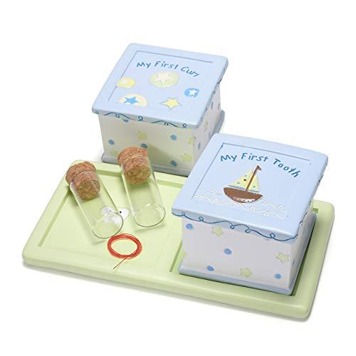 Mogokoyo baby Kinder Haar Milchzahndose Milchzähne Zähne box Souvenir Aufbewahrungsbox für Mädchen & Junge TaufeGeburt Geschenk (Quadrat/Blau)