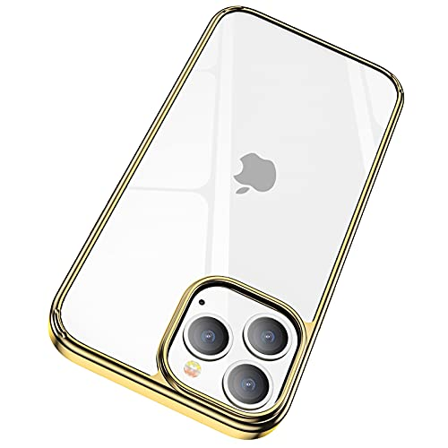 JKZ Compatible for iPhone 13 Pro Max Case Metal Gold, Anti-Yellowing Crystal Clear Shockproof Protective Case, Ultra Slim Compatible for 2021 6.7 iPhone 13 Pro Max Case, Support Wireless Charging