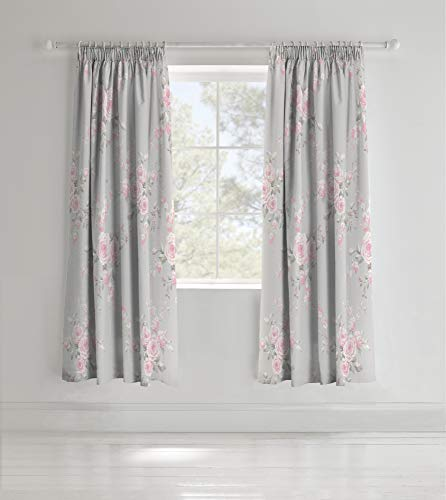 Catherine Lansfield Canterbury Easy Care Pencil Pleat Curtains Grey, 66x72 Inch
