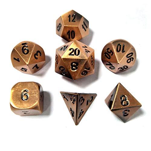 Metall Polyedrische 7-Die Würfel Set Für Dungeons and Dragons RPG Würfel Gaming Für D&D Mathematik Lehre, A11 Sril