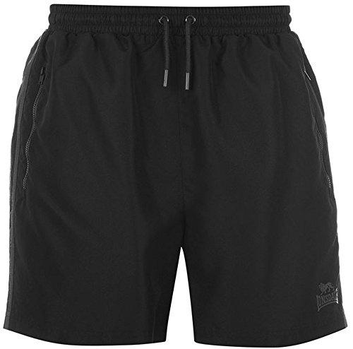 Lonsdale - Pantalones cortos de entrenamiento para hombre, dos rayas, malla interior Negro Carbón Negro 54