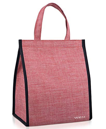 Lunch Bag, VAGREEZ Insulated Lunch Bag Large Waterproof Adult Lunch Tote Bag For Men or Women (Pink)