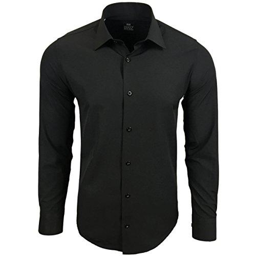 Rusty Neal Premium Basic Stretch Herren Hemd Schwarz Business Langarm Hemden Weiß Uni 55, Farbe:Schwarz, Größe:XL