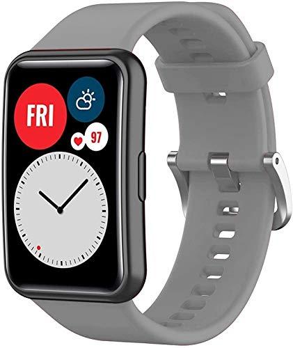 NVFED Correa de silicona para reloj Huawei Fit Correa de reloj inteligente Accesorios de repuesto para Huawei Watch Fit Correa de reloj 2020 (color de la correa: gris)