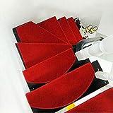 Eastery Treppenteppich Stufenmatte Treppenmatte Ohne Klebemittel 65 * 24Cm Grau Elegant Zuhause Landhaus Einfacher Stil Retro Dekoration rutschfeste Stufenmatte (Color : Rot, Size : Size)