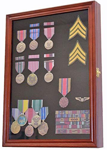 Military Medals, Pins, Patches, Insignia, Ribbons Display Case Wall Frame Cabinet (Walnut Finish)