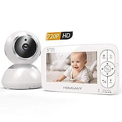 homeasy Babyphone mit Kamera 5 Zoll HD 720P Video Babyphone mit 320m Reichweite Schwenkbare Babyüberwachung ohne Wlan mit Eco Modus Gegensprechfunktion Nachtsicht- VOX-Funktion
