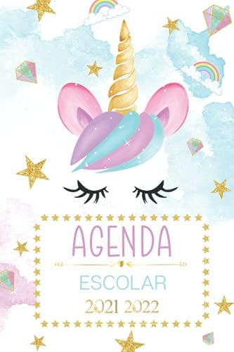 Agenda escolar 2021 2022: Unicornio mágico tema floral acuarela flores estrellas - escuela primaria intermedia estudiante universitario para niño y ... | Calendario y días festivos nacionales.