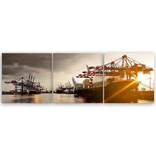 ge Bildet Bilderdepot24 hochwertiges Leinwandbild XXL Panorama - Hamburger Hafen - 150 x 50 cm mehrteilig (3 teilig) 1247