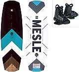 MESLE Wakeboard Set Pilot mit Moto Bindung, Progressive Rocker, Slider Base, für Fortgeschrittene, für Cable und Boot, Längen 134 cm, 138 cm, 142cm, Größe:L-XL, Länge:142 cm