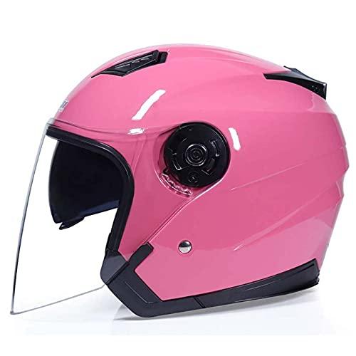 Open-face Motorcycle Helmet Flip Up Full Face Motorbike Helmets Adult Men And Women Half Helmet DOT Approved Helmet Quick Release Buckle DOT Approved,Pink,Medium