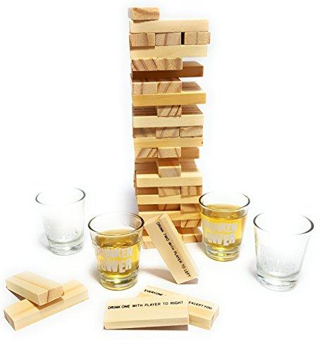 Bambelaa! Trinkspiel Partyspiel Wackelturm Drunken Tower inklusive Vier Trinkgläser ca. 4cl (Englische Version) - 4
