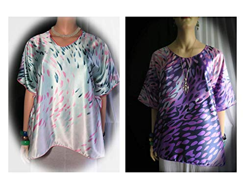 Womens' Faberge Sunday Faux Silk Butterfly Caftan Top Tunic - One Size PLUS L-3XL Made in Hawaii - 2 Shirts in 1 Wear Either Side as Front -