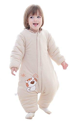 Chilsuessy Babyschlafsack 3.5 Tog Winter Kinder Schlafsaecke mit abnehmbar Langarm und Beinen,aus gesund Bio Baumwolle,Katze Muster, 1#, XL/Koerpergroesse 100-110cm