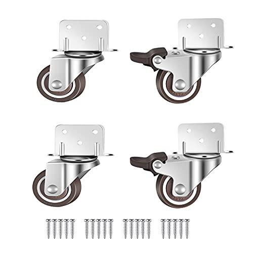 GEOCANG 4 piccole ruote girevoli per mobili, 32 mm con ruote frenate, piastra di montaggio a L, adatto per mobili, supporto per fiori, presepe (32 mm)