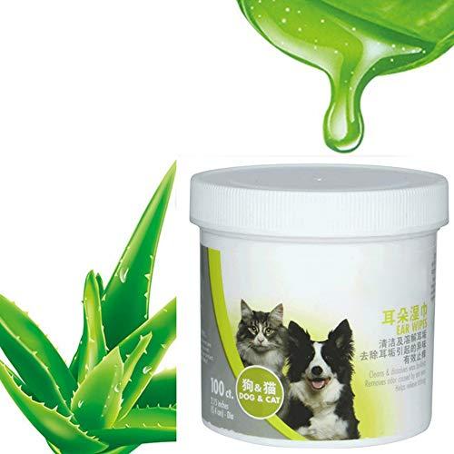 SIQDAK Toallitas de aseo de mascotas para perros y gatos, desodorizantes toallitas gruesas hipoalergénicas, toallitas naturales para mascotas con fórmula vegetal (100 unidades).