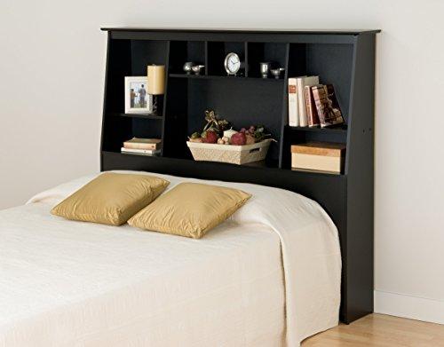 Prepac Bookcase Headboard is a good nightstand alternative in a small bedroom