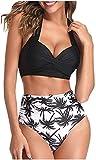 Bikini De La Ropa Interior De Las Mujeres Bastante Mode Básicos Mujeres Forman Cruce Ropa De Playa Traje De Baño Bh Flores Floral Manchado Bikini Halter Bottom ( Color : Schwarz H. , Size : M )
