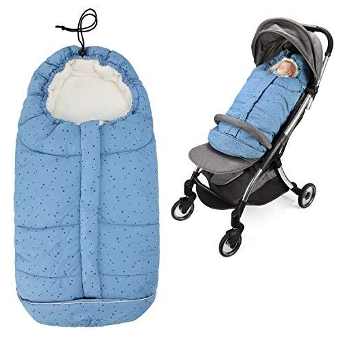 Fascol Sacco a Pelo Neonato con 5 Slot per Cintura di Sicurezza, Sacco Termico Neonato Impermeabile Antivento con Protezione della Desta,per Bebè da 0 a 24 Mesi, Blu