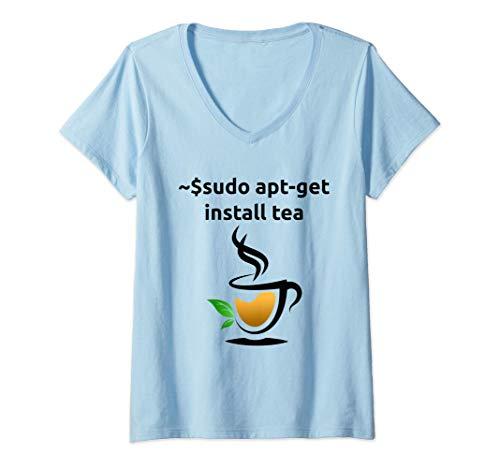 Damen Linux sudo apt-get install Tee, Geek Nerd Geschenke T-Shirt mit V-Ausschnitt