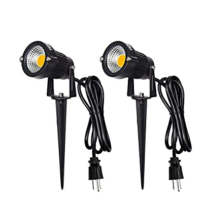 LED Landscape Spotlight Outdoor,IP65 Waterproof Garden Spotlights,5W AC 120V Yard Flood Light,Metal Ground Stake Lawn Lights,3200K LED Spotlight with 1.5M UL-Listed Cord and 3-Plug (Warm White)
