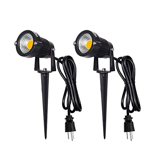 LED Landscape Spotlight Outdoor,IP65 Waterproof Garden Spotlights,5W AC 120V Yard Flood Light,Metal Ground Stake Lawn Lights,3200K LED Spotlight with 1.5M UL-Listed Cord and 3-Plug (2 Packs)