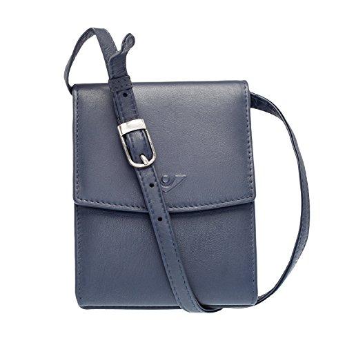 VOi Umhängetasche mit Gürtelschlaufe 10063 Geldbörse zum Umhängen aus 100% Leder in Blau