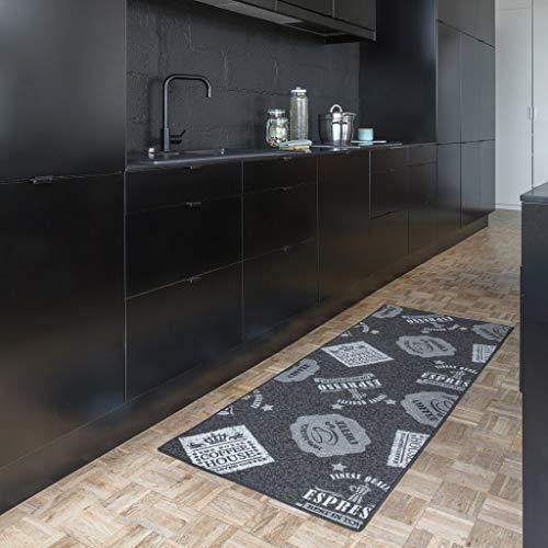 Fabriq Tappeto Cucina Antiscivolo, Passatoia Cucina, Tappeto Passatoia per Corridoio, Facile da Pulire, Resistente, 67 X 180 cm, Grigio, Coffee Patterns