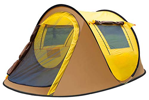 VIKOCELL Fully automatic quick-opening ultra-light backpack tent, camping tent outside the boat account for 3-4 people camping, suitable for hiking, camping, vacation, etc.-yellow_245x150x105cm