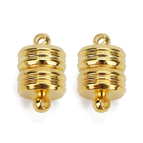 Linsoir Beads 5 Sets Small Strong Magnetic Barrel Clasps Magnetic Jewelry Clasps Strong Enough for All Jewelry Making Gold Finish