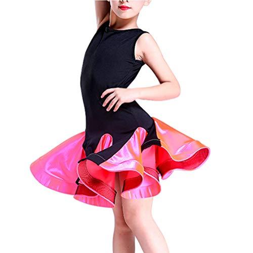 Gtagain Kleider Tanzen Kostüm Mädchen - Kinder Latin Salsa Samba Rumba Ballsaal Ärmellos Kleid Bühne Tanz Performance Kleidung Tanzkleidung Bühne Party Elegant
