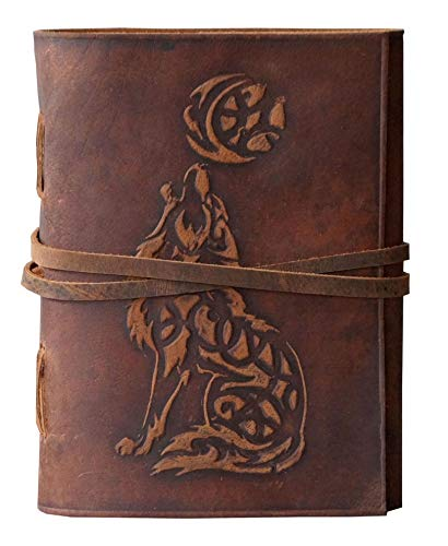 Wolf Leather Journal Embossed Bound - Writing Notebook Handmade Daily Notepads for Men & Women Blank Paper 7 x 5 Inches - Best Gift for Art Sketchbook & Notebook