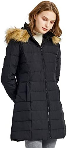 Orolay Women s Thickened Winter Down Coat Quilted Puffer Jacket with Fur Hood M Black product image